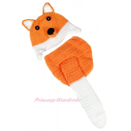 Orange White Fox Photo Prop Crochet Newborn Baby Custome C181