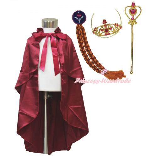 Frozen Anna Raspberry Wine Red Satin Cape & Hair Set Dress Up Party Costume C317