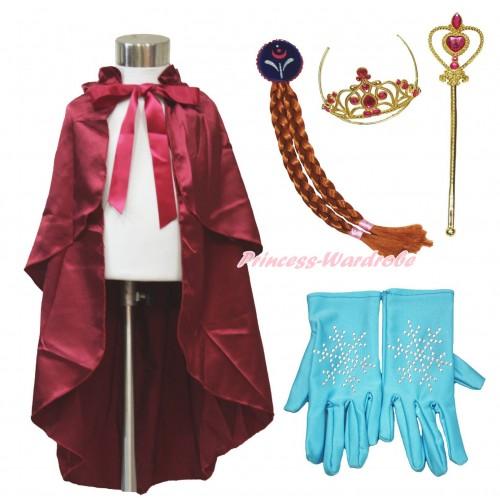 Frozen Anna Raspberry Wine Red Satin Cape & Sparkle Rhinestone Snowflakes Gloves & Hair Dress Up Party Costume Set C318
