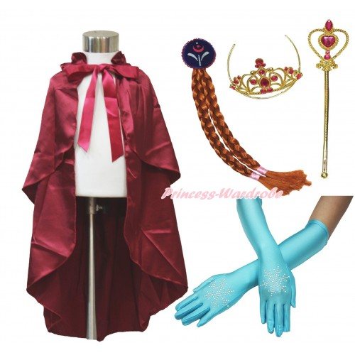 Frozen Anna Raspberry Wine Red Satin Cape & Sparkle Rhinestone Snowflakes Elbow Length Gloves & Hair Dress Up Party Costume Set C319