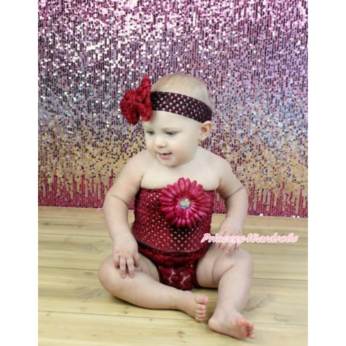 Raspberry Wine Red Rose Panties Bloomers & Raspberry Wine Red Flower Crochet Tube Top & Wine Red Headband Rose Bow 3PC Set CT675