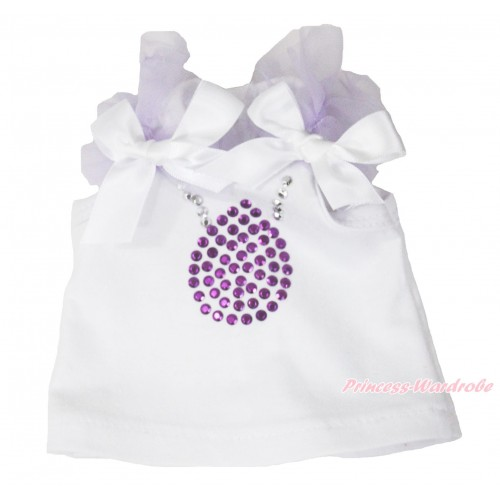 Princess Sofia White Tank Top Lavender Ruffles White Bows & Sparkle Rhinestone Necklace American Girl Doll Top Outfit DT005