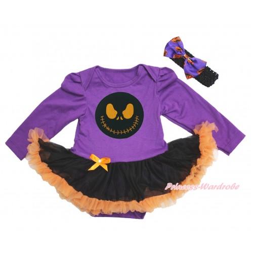 Halloween Dark Purple Long Sleeve Bodysuit Black Orange Pettiskirt & Nightmare Before Christmas Jack & Black Headband Dark Purple Pumpkin Satin Bow JS3896
