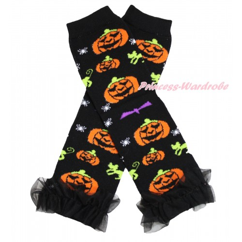 Halloween Newborn Baby Pumpkin Black Leg Warmers Leggings & Black Ruffles LG276