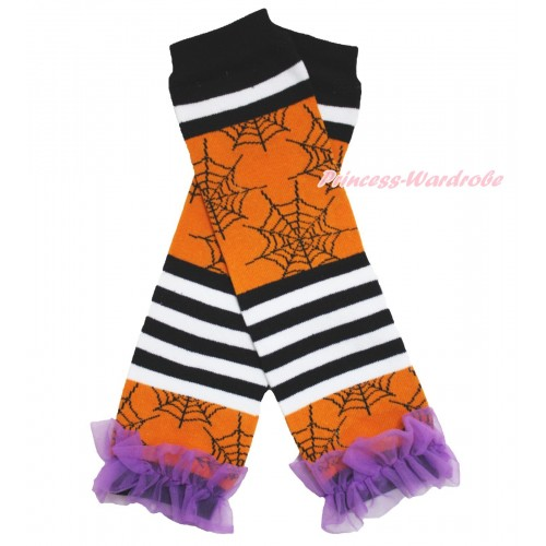 Halloween Newborn Baby Black White Orange Striped Spider Web Leg Warmers Leggings & Dark Purple Ruffles LG279