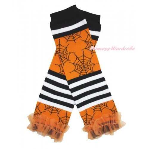 Halloween Newborn Baby Black White Orange Striped Spider Web Leg Warmers Leggings & Orange Ruffles LG280