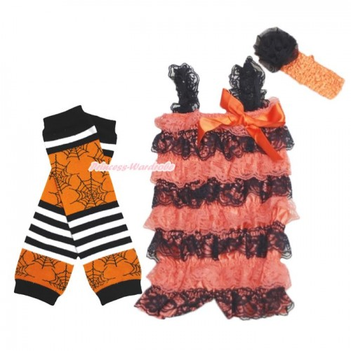 Halloween Orange Black Lace Ruffles Romper & Orange Bow & Straps with Headband & Leg Warmer Set RH158