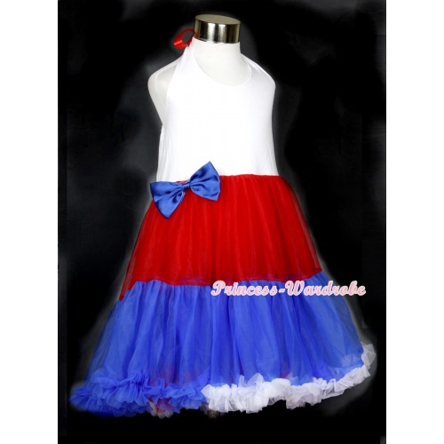 Red White Royal Blue ONE-PIECE Petti Dress with Royal Blue Satin Bow LP22