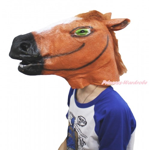 Brown Rubber Horse Head Face Mask Costume C337
