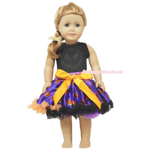 Black Tank Top Sparkle Rhinestone Nightmare Before Christmas Jack & Purple Pumpkin Pettiskirt American Girl Doll Outfit DO046