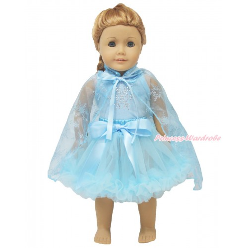 Frozen Light Blue Tank Top Sparkle Rhinestone Snowflakes & Light Blue Pettiskirt & Sparkle Snowflakes Light Blue Organza Cape American Girl Doll Outfit DO056