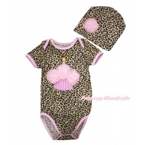 Light Pink Piping Leopard Baby Jumpsuit & Light Pink Rosettes Birthday Cake & One Rose Cap Set JP62