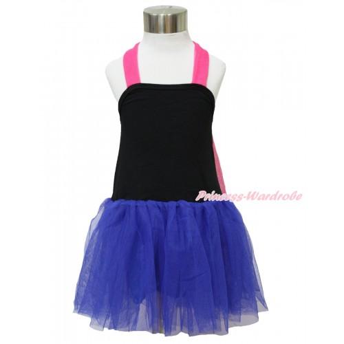 Hot Pink Black Royal Blue ONE-PIECE Halter Dress LP118