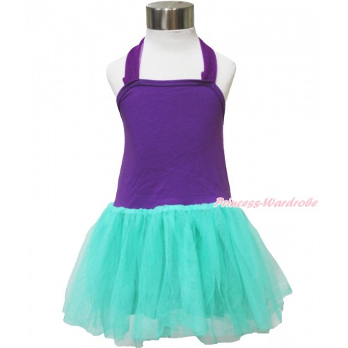 Dark Purple Aqua Blue ONE-PIECE Halter Dress LP122