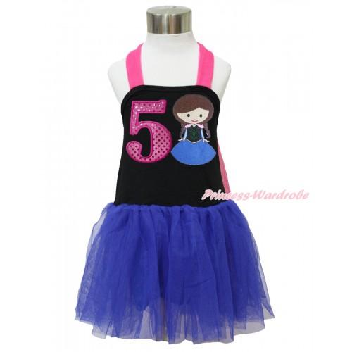 Frozen Hot Pink Black Royal Blue Halter Dress & 5th Sparkle Hot Pink Birthday Number & Princess Anna LP129
