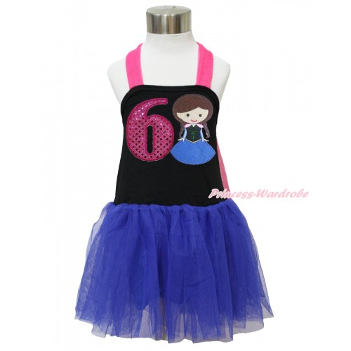 Frozen Hot Pink Black Royal Blue Halter Dress & 6th Sparkle Hot Pink Birthday Number & Princess Anna LP130