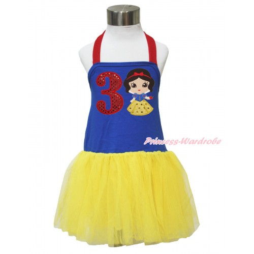 Red Royal Blue Yellow Halter Dress & 3rd Sparkle Red Birthday Number & Princess Snow White LP134