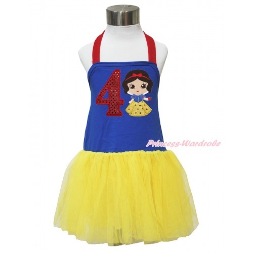 Red Royal Blue Yellow Halter Dress & 4th Sparkle Red Birthday Number & Princess Snow White LP135