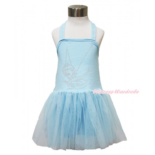 Light Blue Halter Dress & Sparkle Bling Rhinestone Periwinkle LP140
