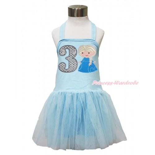 Frozen Light Blue Halter Dress & 3rd Sparkle White Birthday Number & Princess Elsa LP143