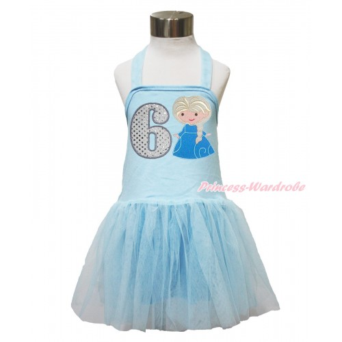 Frozen Light Blue Halter Dress & 6th Sparkle White Birthday Number & Princess Elsa LP146