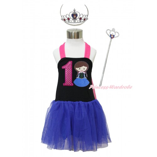 Frozen Hot Pink Black Royal Blue Halter Dress & 1st Sparkle Hot Pink Birthday Number & Princess Anna & Crown Wand Set LP172