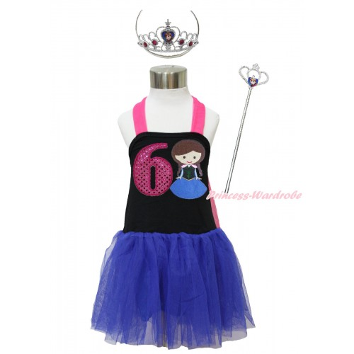 Frozen Hot Pink Black Royal Blue Halter Dress & 6th Sparkle Hot Pink Birthday Number & Princess Anna & Crown Wand Set LP177