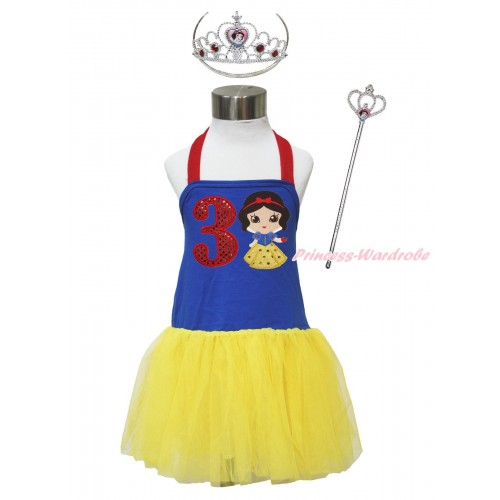 Red Royal Blue Yellow Halter Dress & 3rd Sparkle Red Birthday Number & Princess Snow White & Crown Wand Set LP181