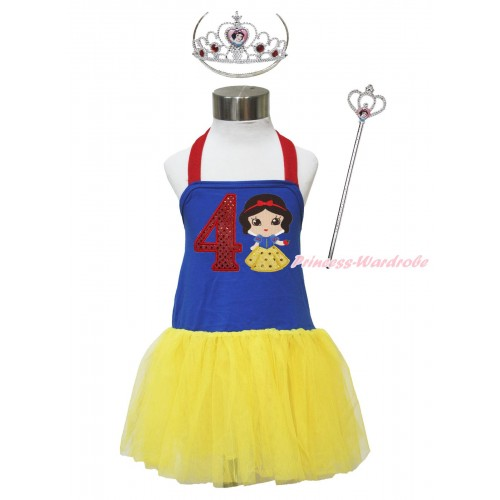 Red Royal Blue Yellow Halter Dress & 4th Sparkle Red Birthday Number & Princess Snow White & Crown Wand Set LP182