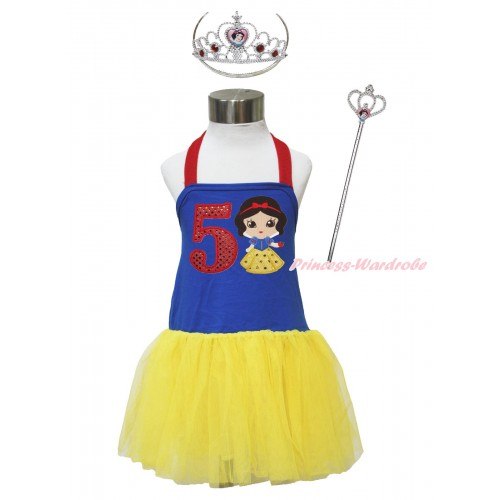 Red Royal Blue Yellow Halter Dress & 5th Sparkle Red Birthday Number & Princess Snow White & Crown Wand Set LP183