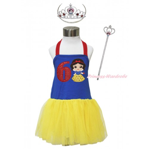 Red Royal Blue Yellow Halter Dress & 6th Sparkle Red Birthday Number & Princess Snow White & Crown Wand Set LP184