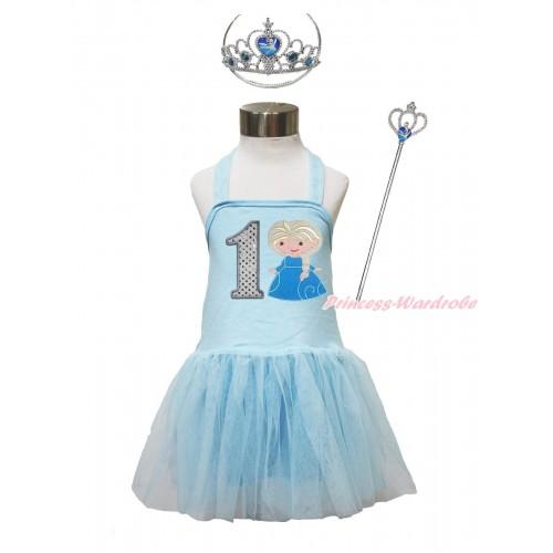 Frozen Light Blue Halter Dress & 1st Sparkle White Birthday Number & Princess Elsa & Crown Wand Set LP187