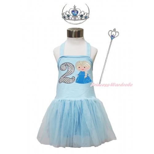 Frozen Light Blue Halter Dress & 2nd Sparkle White Birthday Number & Princess Elsa & Crown Wand Set LP188