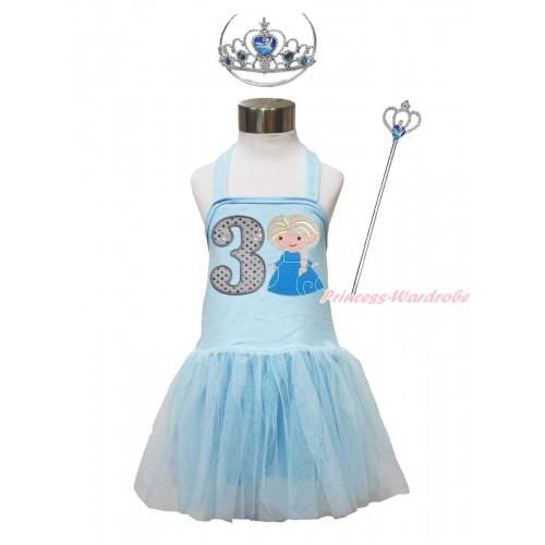 Frozen Light Blue Halter Dress & 3rd Sparkle White Birthday Number & Princess Elsa & Crown Wand Set LP189