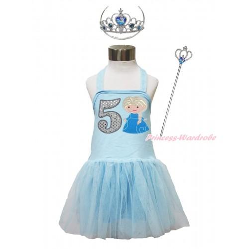 Frozen Light Blue Halter Dress & 5th Sparkle White Birthday Number & Princess Elsa & Crown Wand Set LP191