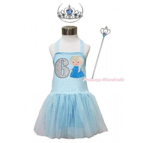 Frozen Light Blue Halter Dress & 6th Sparkle White Birthday Number & Princess Elsa & Crown Wand Set LP192
