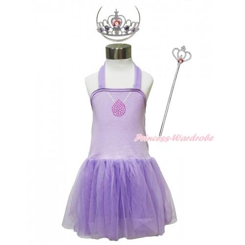 Princess Sofia Lavender Halter Dress & Sparkle Rhinestone Necklace & Sofia Heart Crown Wand Set LP193