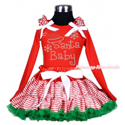 Xmas Red Long Sleeve Top Red White Striped Ruffles White Bow & Sparkle Rhinestone Santa Baby & Red White Striped mix Kelly Green Pettiskirt MB45