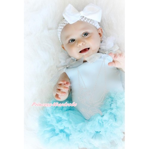Light Blue Baby Pettitop White Ruffles Sparkle Silver Grey Bows & Sparkle Rhinestone Periwinkle Print & Light Blue Newborn Pettiskirt & White Headband Silk Bow NG1591