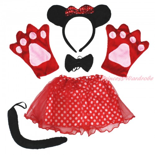Minnie 4 Piece Set in Headband, Tie, Tail , Paw With Red White Dots Skirt PC082