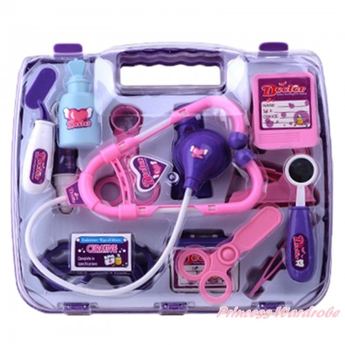 Purple Doctor Nurse Stethoscope Glasses Scissors Tools Toy Kits Box TY004