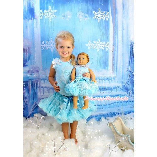 Frozen Light Blue Tank Top White Ruffles Sparkle Silver Grey Bows & Rhinestone Princess Elsa & Light Blue Snowflakes Girl Pettiskirt Matching Rhinestone Snowflakes Print Top & Skirt American Girl Doll Outfit Set DO062