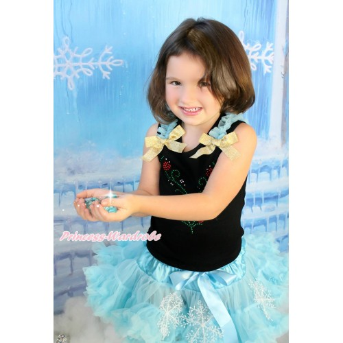 Black Tank Top Light Blue Ruffles Sparkle Goldenrod Bow & Sparkle Rhinestone Princess Anna Print & Light Blue Snowflakes Pettiskirt MG1411