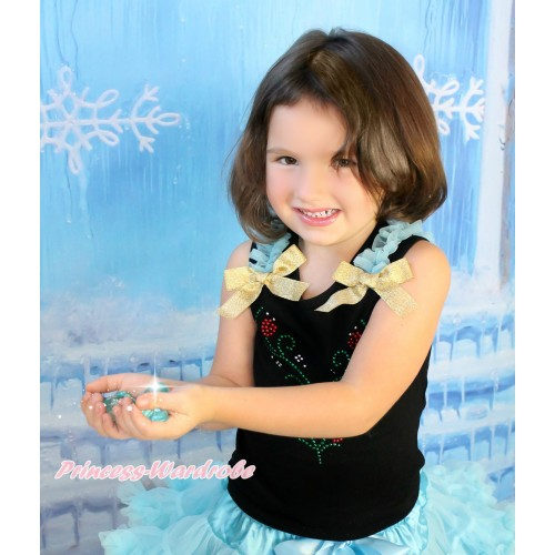 Black Tank Top With Light Blue Ruffles & Sparkle Goldenrod Bow With Sparkle Crystal Bling Rhinestone Princess Anna Print TB740
