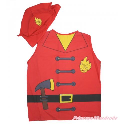 Firefighter Top & Hat Cap Party Dress Up Costume Set C344