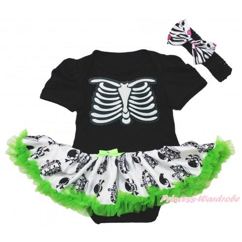 Halloween Black Baby Bodysuit Crown Skeleton Pettiskirt & Skeleton Rib & Black Headband Zebra Skeleton Satin Bow JS3966