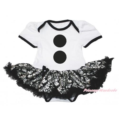 Frozen White Baby Bodysuit Damask Pettiskirt & Olaf Button Print JS4196