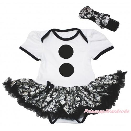 Frozen White Baby Bodysuit Damask Pettiskirt & Olaf Button Print & Black Headband Damask Satin Bow JS4200