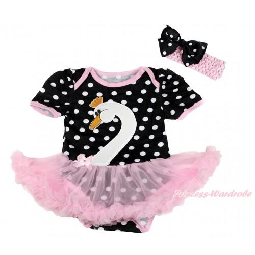 Easter Black White Dots Baby Bodysuit Light Pink Pettiskirt & Swan Print & Light Pink Headband Black White Dots Silk Bow JS4201