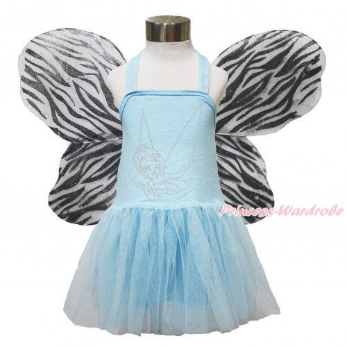 Fairy Light Blue Halter Dress & Sparkle Rhinestone Periwinkle & Zebra Butterfly Wing LP201